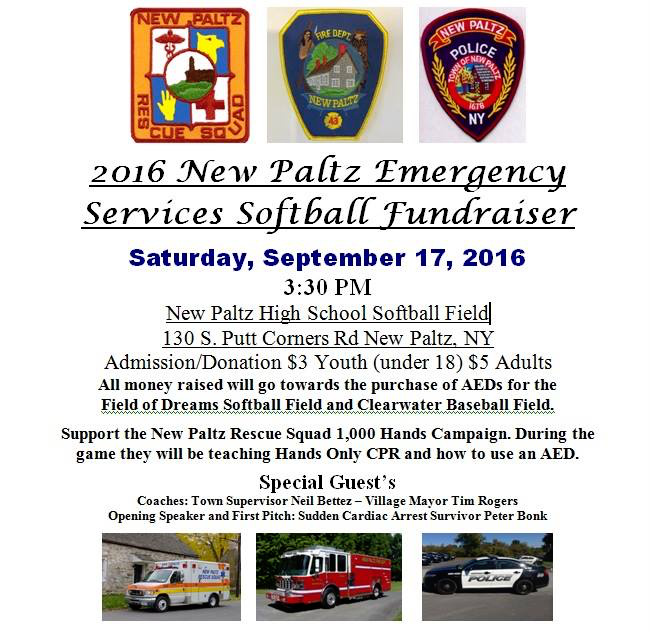 2016 New Paltz Emergency Services Softball Fundraiser